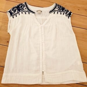 Lucky Brand White and Blue Embroidered Top